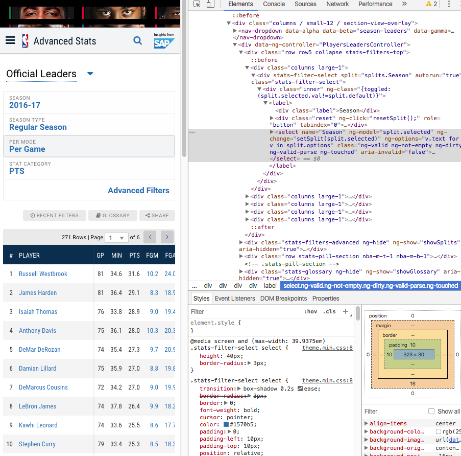 Scraping Stats nba com With Python - Trial and Error